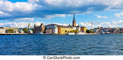 Panorama of the Old Town in Stockholm, Sweden