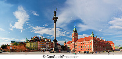 Panorama of the old town in Warsaw, Poland. The Royal Castle...