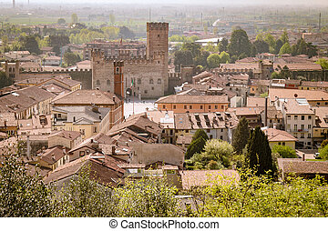 Panorama of the old town of Marostica famous for the Chess ...