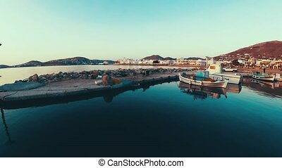 Panorama of the pier in dawn at Paros, Greece