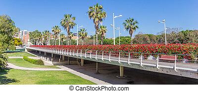 Panorama of the Puente de las flores bridge in Valencia
