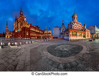 Panorama of the Red Square - Kremlin, Historical Museum, Resurrection Gate and Kazan Cathedral, Moscow, Russia