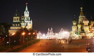 Panorama of the Red Square, Kremlin, Saint Basil\'s Cathedral towers and people in Moscow