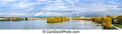 Panorama of the Rhine river between Mainz and Wiesbaden in Germany