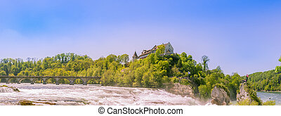 Panorama of the Rhine waterfall on the side
