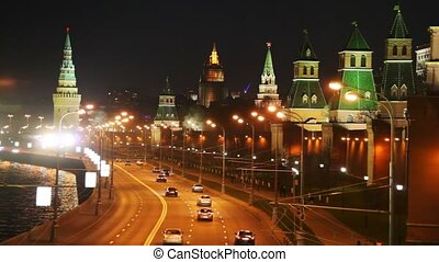 Panorama of the river, cars on road and the Kremlin towers in Moscow