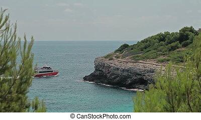 Panorama of the sea bay. Spanish beaches in Cala Mendia....