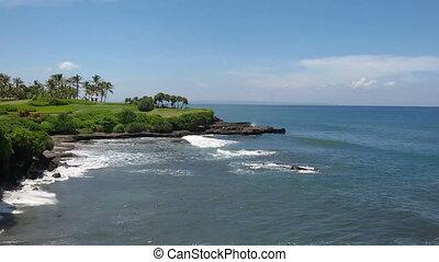 Panorama of the sea coast with a ho
