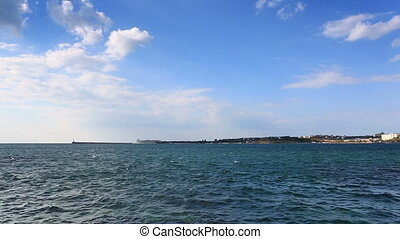 Panorama of the Sevastopol bay and monument to the flooded ships