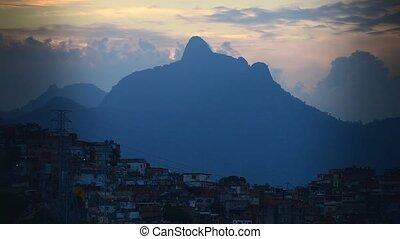 Panorama of the slums and mountains of Rio da Janeiro at...