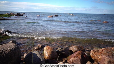 Panorama of the stony coast of the Gulf of Finland in sunny...