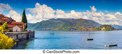 Panorama of the typical italian village in the mountains. Italian village Limonta in Lecco Lake. Lombardy, Italy.