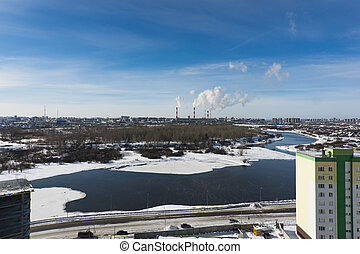 panorama of the winter city
