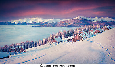 Panorama of the winter morning in the mountains. Mountain valley