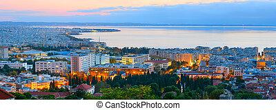 Panorama of Thessaloniki, twilight. Greece