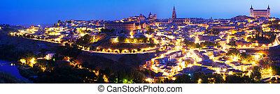 Panorama of Toledo in night