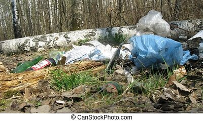 Panorama of trash in forest, time lapse - Panorama of trash...