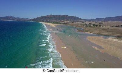 Panorama of tropical beach line - Aerial shot of wonderful...