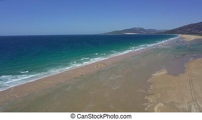 Panorama of tropical beach line - Aerial shot of wonderful...