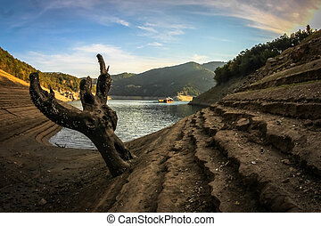 Panorama of Vacha dam, Bulgaria