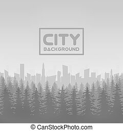 Panorama of vector city with forest