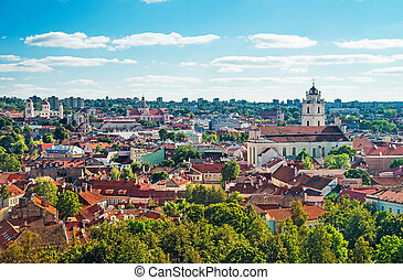 Panorama of Vilnius cityscape and churches
