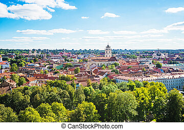 Panorama of Vilnius cityscape with churches