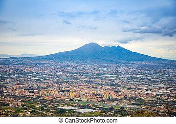 Panorama of volcano Vesuvio and Pompei in the evening, Italy