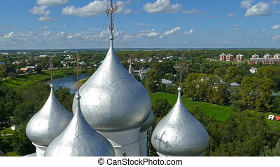 Panorama of Vologda city, aerial view