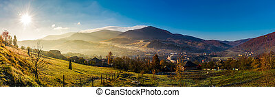 panorama of Volovets town in Carpathian mountains