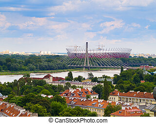 Panorama of Warsaw in Poland, on the first plan Srodmiescie district, farther Prague district with National Stadium