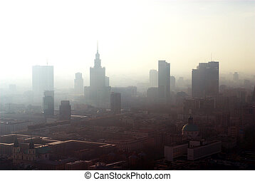romantic panorama of City Warsaw Poland landscape