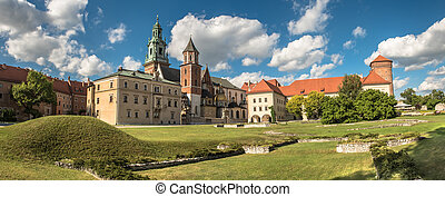 panorama of Wawel cathedral in Krakow, Poland - panorama of...