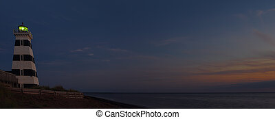 Panorama Of West Point Lighthouse At Night