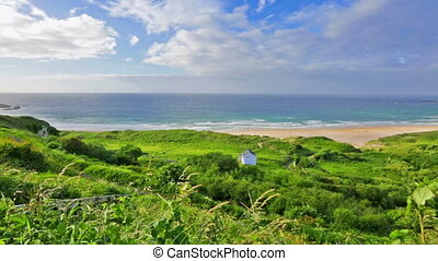 panorama of White Park Bay, Ballycastle, County Antrim,...