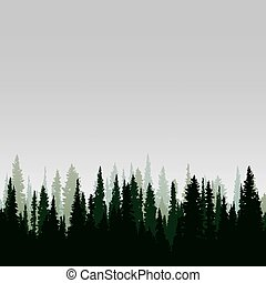 Panorama of wild coniferous forest - Vector panorama of wild...