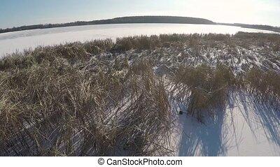panorama of winter lake