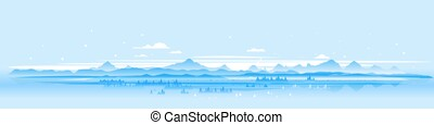 Panorama of winter mountains landscape
