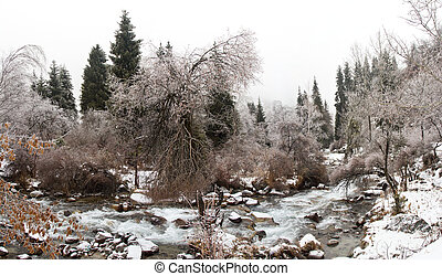 panorama of winter nature in Kazakh