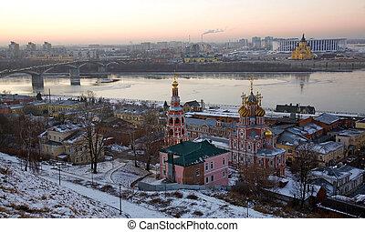 Panorama of winter Nizhny Novgorod at sunset