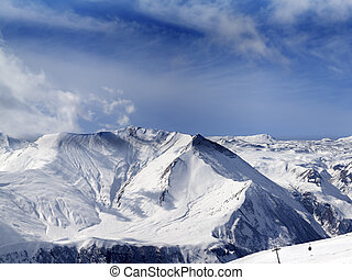 Panorama of winter snowy mountains