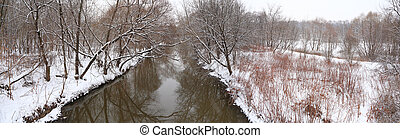 Panorama of winter wood with river