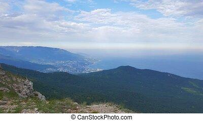 Panorama of Yalta coast from Mount Ai-Petri. Crimea. UltraHD...