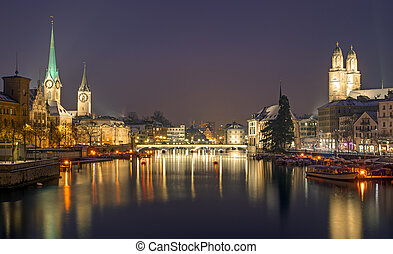 A panorama of Zurich on a winter night