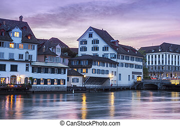 Panorama of Zurich at sunset