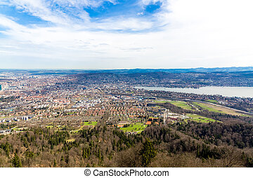 Panorama of Zurich city from the Uetliberg mountain