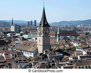 Panorama of Zurich downtown