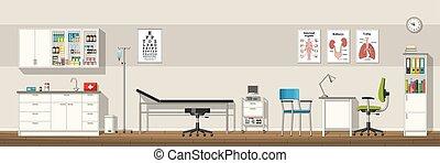 panorama, oficina, ilustración, doctor