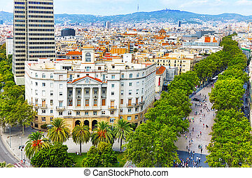 Panorama on Barcelona city from Columbus monument. Barcelona.