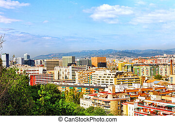 Panorama on Barcelona city from Montjuic castle. Catalonia. ...